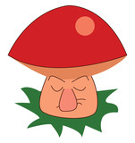 A mushroom with a red cap and a grumpy stem vector color drawing or illustration