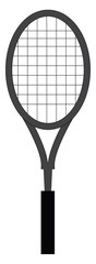 Simple vector illustration on white background of a grey tennis racket