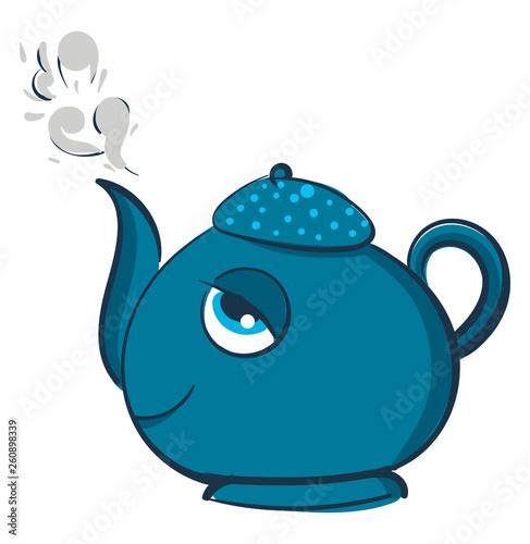 Blue smiling teapot vector illustration on white background © Morphart