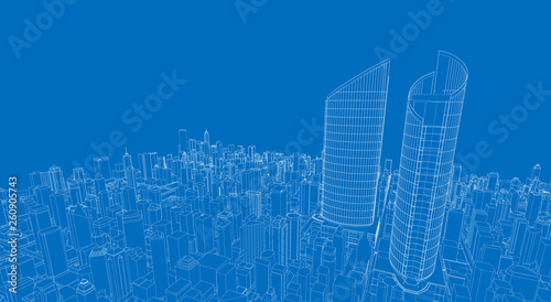 3d wireframe of building. sketch design.Vector - 260905743
