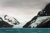 Moody glacier scene surrounded by snowy mountains feeding into the sea at Drygalski Fjord, South Georgia
