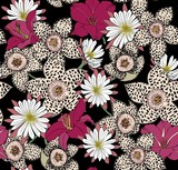 Lilies, spotted stapelia flowers and cactus flowers. Exotic Botanical seamless print.