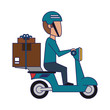 Delivery guy driving scooter with boxes blue lines