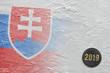 Image of Slovak flag on ice and hockey puck