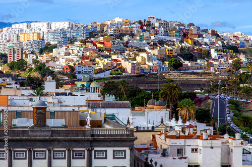 Las-Palmas Gran Canaria, Spain, on January 8, 2018. A view of the central part of the city from the survey platform of the cathedral - 260934382