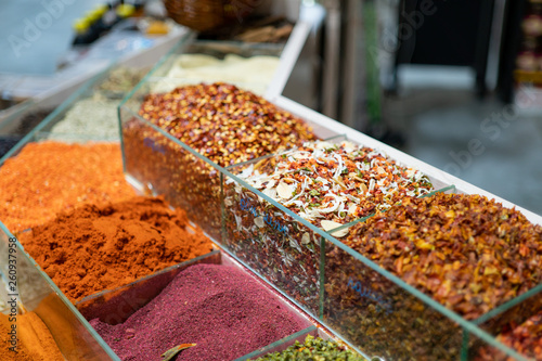 different spices in the grocery store without packaging © Ivan Zhdan
