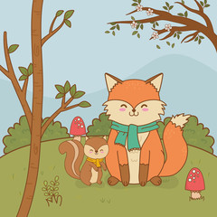 cute fox woodland character