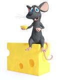 Renderowania 3D uśmiechnięta mysz kreskówki siedzi na serze.