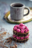 Fuschia chocolate cake crumbs and dark coffee