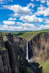 Landscape view of Maletsunyane waterfall in Semonkong, Lesotho, Southern Africa