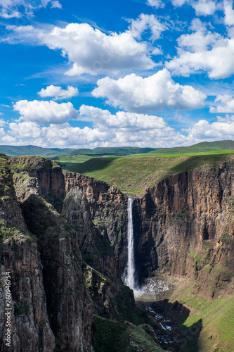 Landscape view of Maletsunyane waterfall in Semonkong, Lesotho, Southern Africa - 260946754