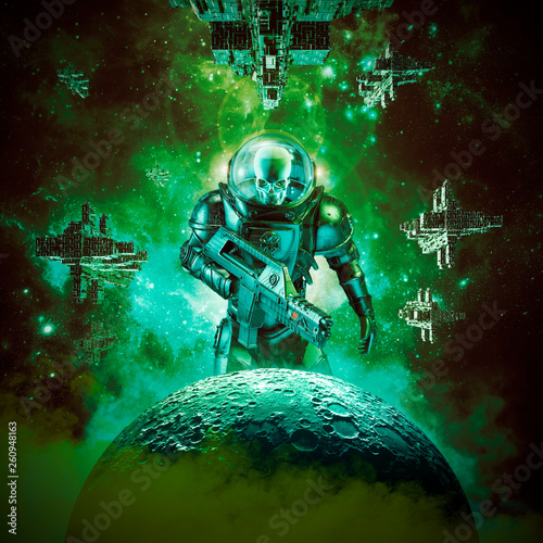 Skeleton military astronaut warrior / 3D illustration of science fiction scene of evil skull faced space soldier with laser pulse rifle rising above moon and fleet of spaceships in the background © grandeduc