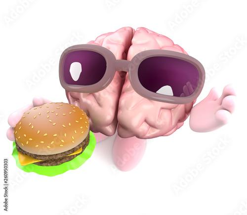 Funny cartoon 3d human brain character eating a cheeseburger snack