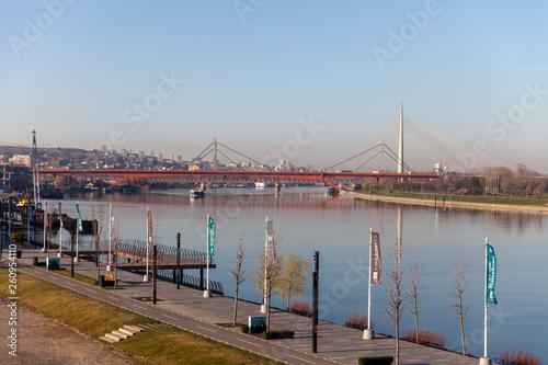 Gazela Bridge view on March 17, 2019 in Belgrade, Serbia.