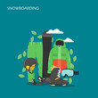 Snowboarding equipment vector flat style design illustration