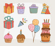 birthday card set icons - 260954570