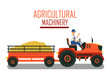 Tractor with Cart Attachment Vector Illustration