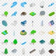 Element icons set. Isometric style of 36 element vector icons for web for any design