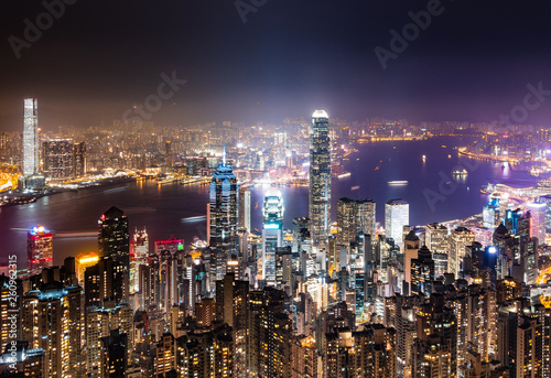 fototapeta na ścianę 世界三大夜景 香港 ビクトリア・ハーバー