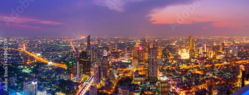 Panorama High view of Bangkok city in twilight time / Bangkok high view - 260962709
