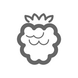 Blackberry, raspberry icon. Raspberry fruit sign