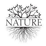 Nature text and idea. Concept with Leaves and Roots. Vector Illustration.