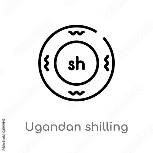 outline ugandan shilling vector icon. isolated black simple line element illustration from africa concept. editable vector stroke ugandan shilling icon on white background