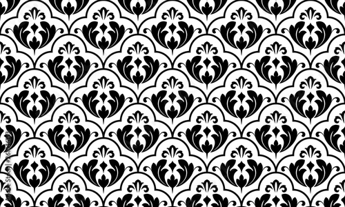 Flower geometric pattern. Seamless vector background. White and black ornament. Ornament for fabric, wallpaper, packaging, Decorative print - 261046153