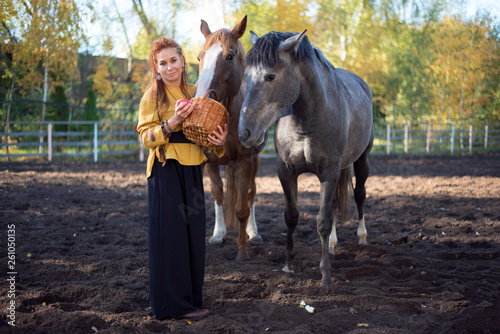 Viking style woman with horses