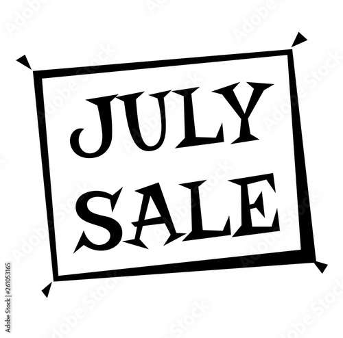 JULY SALE stamp on white