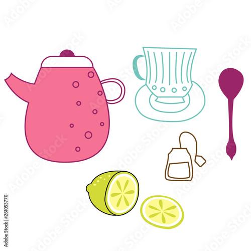 Tea time flat illustration © lkeskinen