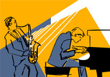 Saxophone player and pianist. Musical group illustration. Black contour on blue and yellow background. Performance on stage. Vector drawing.