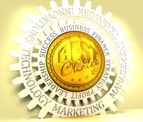 Stamp icon. Graphic design elements. 3D rendering. The best choice text. Golden metallic material. Business relative words on the gear