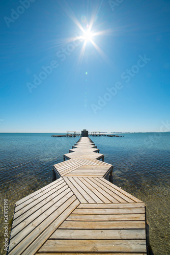 Wooden pier in the Lesser Sea for light boats in Murcia, Spain © Roberto