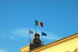 Italian and European flag in the Quirinale Palace headquartier o
