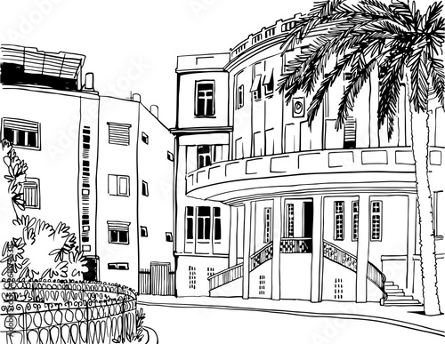 White city Tel Aviv, romantic urban landscape, bauhaus style. Ink line sketch. Hand drawing. Vector illustration on white background. © elenavic