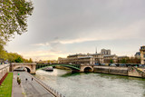 Paris, Seine river in the city center, HDR image