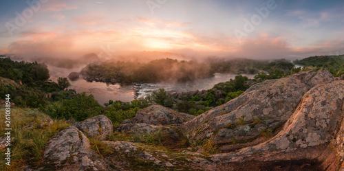 fototapeta na ścianę Panorama with bank of river in morning fog