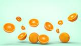 Orange fruit fresh Concept Summer - holidays on pastel Green background - 3d rendering