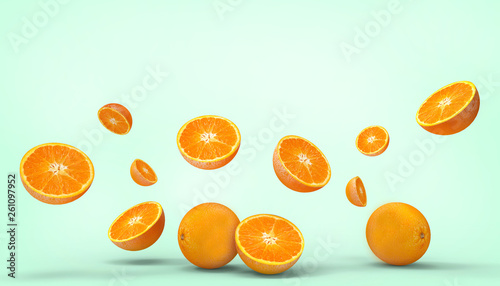 canvas print picture Orange fruit fresh Concept Summer - holidays on pastel Green background - 3d rendering