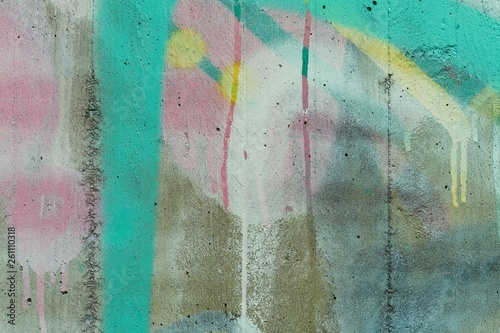 canvas print picture Colored abstract detail of a concrete wall with paint and stains.