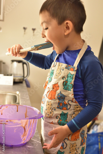 Boy cooking charming handsome  - 261111125