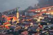 Detail of a Small City near a River at Sunrise. Hainburg an der Donau, Austria.