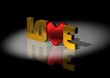 canvas print picture - Love the writing with gold letters and pattern hearts. 3D rendering.
