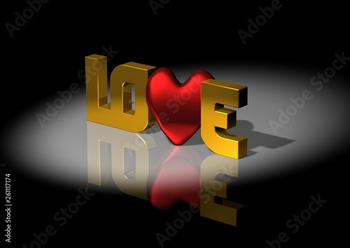 canvas print picture Love the writing with gold letters and pattern hearts. 3D rendering.
