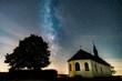 canvas print picture - Die Milchstrasse über der Klausenbergkapelle in Abenheim