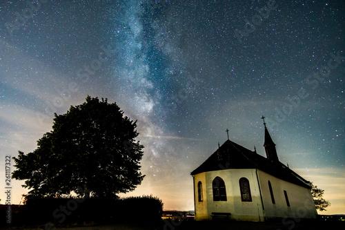 canvas print picture Die Milchstrasse über der Klausenbergkapelle in Abenheim