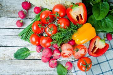 set of vegetables for salad