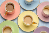 pastel coffee cups abstract