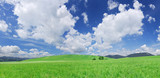 Idyllic view, green hills and blue sky with white clouds